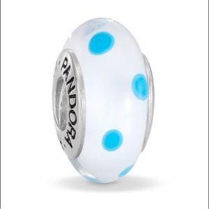Pandora white and blue polka dot murano charm